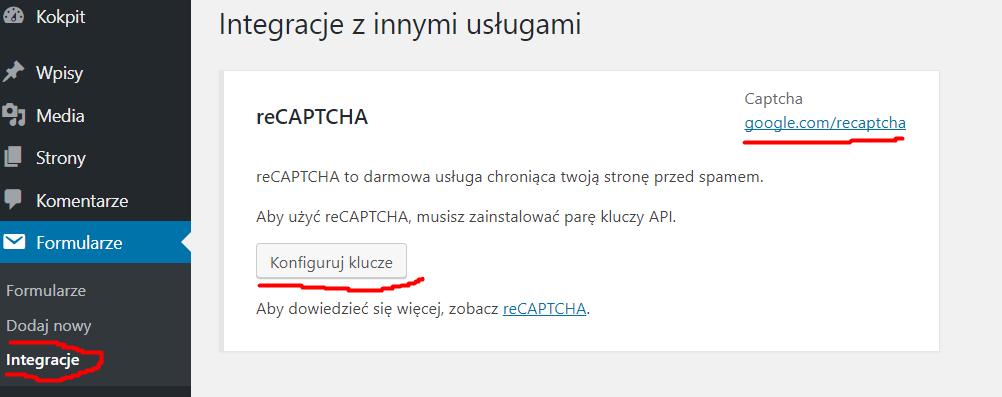 contact form 7 - integracja reCaptcha
