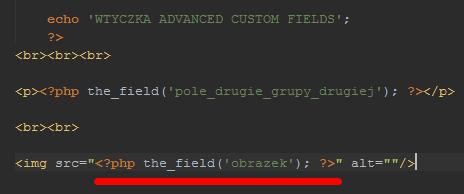 własne pola kod