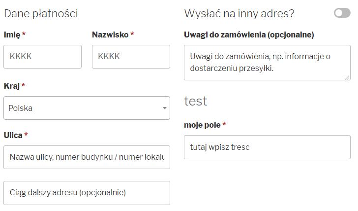 Widok formularza po usunięciu pola nazwy firmy