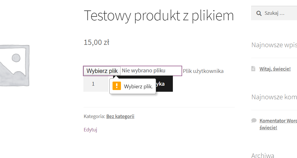 woocomerce - pole na plik użytkownika